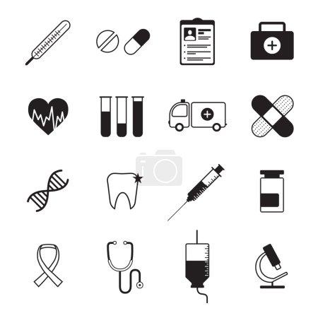 Medicine icons set black