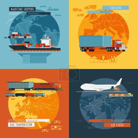 Ilustración de Transporte logístico marítimo marítimo y transporte de carga aérea en todo el mundo 4 iconos planos composición banner abstracto aislado vector ilustración vectorial - Imagen libre de derechos