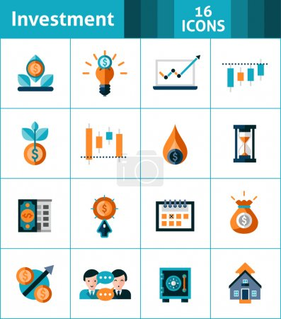 Illustration for Investment icons set with market analysis stock exchange symbols isolated vector illustration - Royalty Free Image
