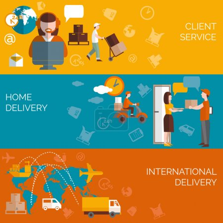 Ilustración de Worldwide logistic home package delivery clients service concept 3 flat horizontal banners composition abstract isolated vector illustration - Imagen libre de derechos