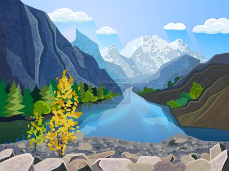 Illustration for Quality landscape wallpaper summer mountain range with river and golden tree  picturesque poster print abstract vector illustration - Royalty Free Image