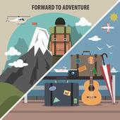 Travel hiking diagonal banner