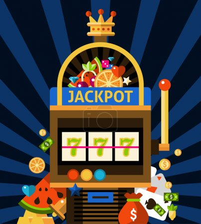 Illustration for Slot machine concept with jackpot crown and money on dark blue background with rays flat vector illustration - Royalty Free Image