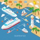 Urlaub am Meer und Schiffe Konzept
