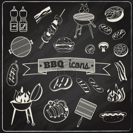 Illustration for Barbecue and grill party chalk board decorative elements set isolated vector illustration - Royalty Free Image
