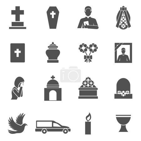 Illustration pour Icônes noires funéraires serties d'une couronne de prêtre cercueil croix illustration vectorielle isolée - image libre de droit