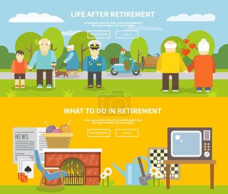 Illustration pour Style de vie des retraités bannière horizontale sertie d'éléments plats pour personnes âgées illustration vectorielle isolée - image libre de droit