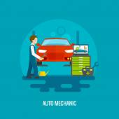 Auto mechanic in repair service center with car and working tools flat vector illustration