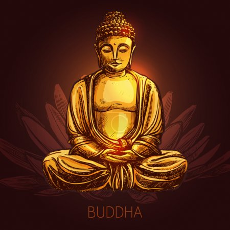 Bouddha sur Lotus Flower Illustration