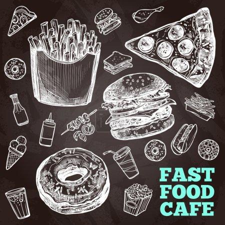 Illustration pour Icônes décoratives Fast Food tableau noir avec hamburger sandwich et poulet illustration vectorielle isolée - image libre de droit
