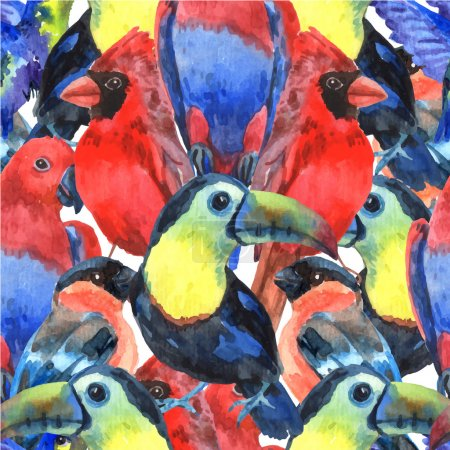 Illustration for Tropical  birds colorful composition seamless pattern for screen printing with parrots and toucan heads abstract vector illustration - Royalty Free Image