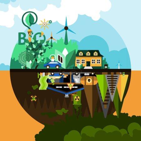 Illustration pour Pollution et concept de nature avec des arbres maison et voiture réflexion illustration vectorielle plate - image libre de droit