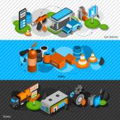 Gasoline diesel fuel station isometric banners set with convenience shop and safety equipment abstract isolated vector illustration