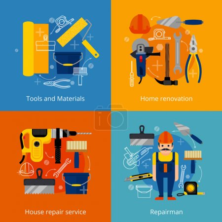 Illustration for House repair service and home renovation flat icons set with power and hand tools materials and repairman isolated vector illustration - Royalty Free Image