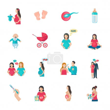 Pregnancy Icons Flat