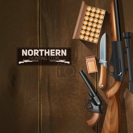Illustration for Hunting weapon and bullets set on wooden texture background vector illustration - Royalty Free Image