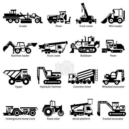 Construction Machines Black White Icons Set