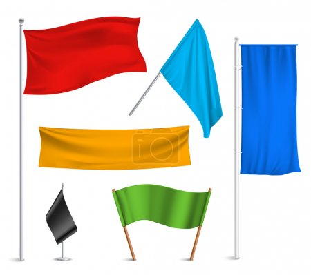 Colored flags banners icons composition