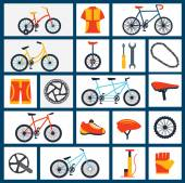 Bicycle accessories flat icons set