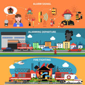 Fire fighting departure horizontal banner set with alarm signal elements isolated vector illustration