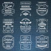 Denim jeans typography logo emblems set