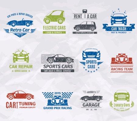 Illustration pour Sport voiture de course équipe logo timbres ensemble isolé vectoriel illustration - image libre de droit
