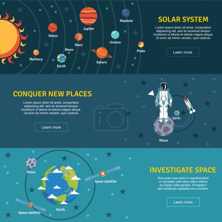 Illustration for Solar system and space investigation flat horizontal banners set with sun planets  and spacecraft abstract vector illustration - Royalty Free Image