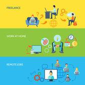 Freelance Flat Color Banner Set