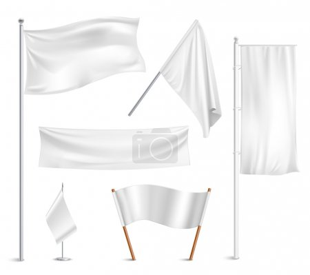 Various white flags and banners pictograms collect...