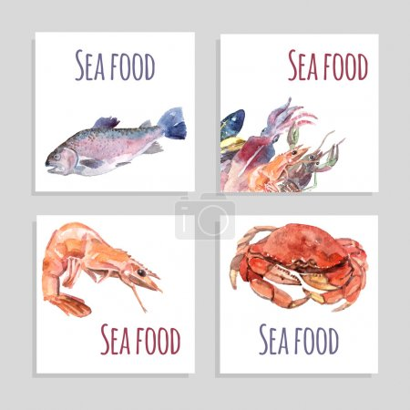 Seafood Watercolor Banners Set