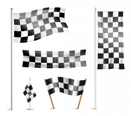 Checkered flags pictograms collection