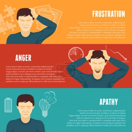 Illustration for Frustration anger apathy work related mental problems symptoms 3 flat horizontal banners set abstract isolated vector illustration - Royalty Free Image