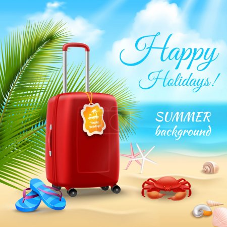 Illustration for Summer vacation background with realistic suitcase on tropical beach vector illustration - Royalty Free Image