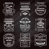 Denim typography chalkboard emblems set