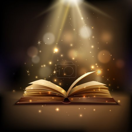 Open book with mystic bright light on background m...
