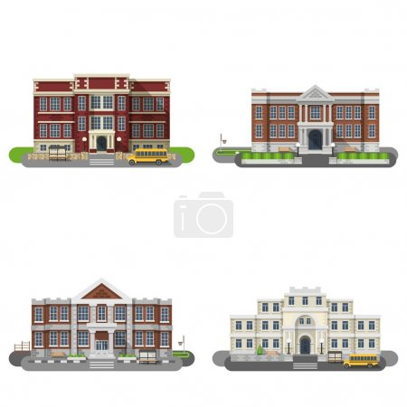 Illustration for School and university buildings flat icons set isolated vector illustration - Royalty Free Image