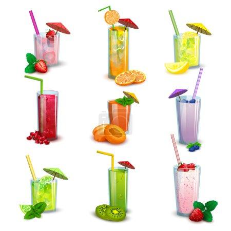 Illustration pour Meilleurs verres longs d'été boissons cocktail de fruits frais et milkshakes icônes plates ensemble illustration vectorielle isolée abstraite - image libre de droit
