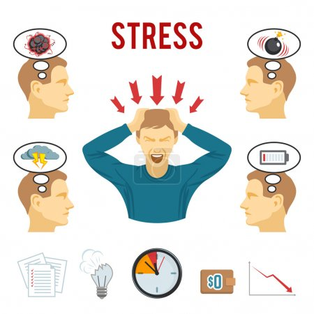 Illustration for Mental health disorders and work related stress anxiety and depression symptoms icons set abstract isolated vector illustration - Royalty Free Image