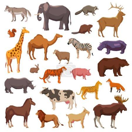Illustration pour Gros animaux domestiques sauvages et animaux de ferme icônes décoratives ensemble illustration vectorielle isolée - image libre de droit