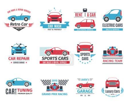Illustration pour Service de réparation de voitures location et lavage logo ensemble isolé vecteur illustration - image libre de droit