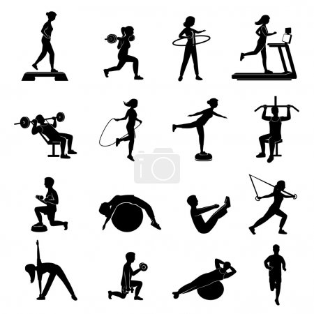 Fitness men women blackicons set