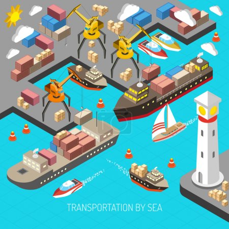 Illustration for Transportation by sea and logistics concept with container carriers and cargo isometric vector illustration - Royalty Free Image