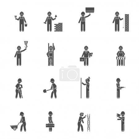Illustration for Builders and worker welder bricklayer handyman and plasterer silhouette flat black icon set isolated vector illustration - Royalty Free Image