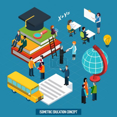 Illustration for High school college education concept with teacher whiteboard presentation and graduation cap isometric banner abstract vector illustration - Royalty Free Image