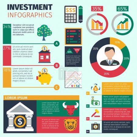 Illustration for Investment infographics set with financial symbols and charts vector illustration - Royalty Free Image