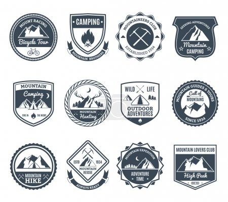 Illustration for Mountain adventure and wild nature exploration emblems black set isolated vector illustration - Royalty Free Image