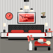 Bedroom design cartoon concept with bed flowers lamps and painting vector illustration