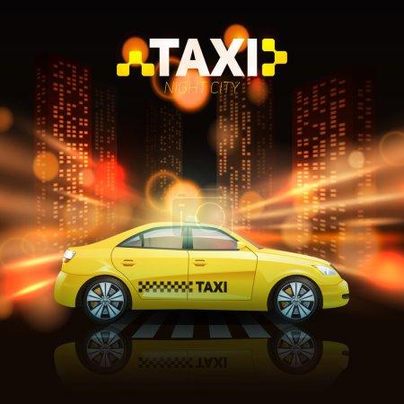 Illustration pour Voiture de taxi avec gratte-ciel de la ville sous les projecteurs sur l'illustration vectorielle de fond - image libre de droit