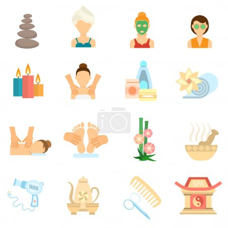 Illustration for Spa and body care icons flat set isolated vector illustration - Royalty Free Image