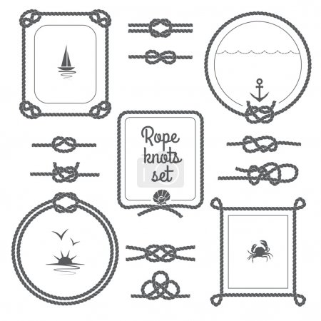 Illustration for Round and square rope frames and various knots black and white set isolated vector illustration - Royalty Free Image